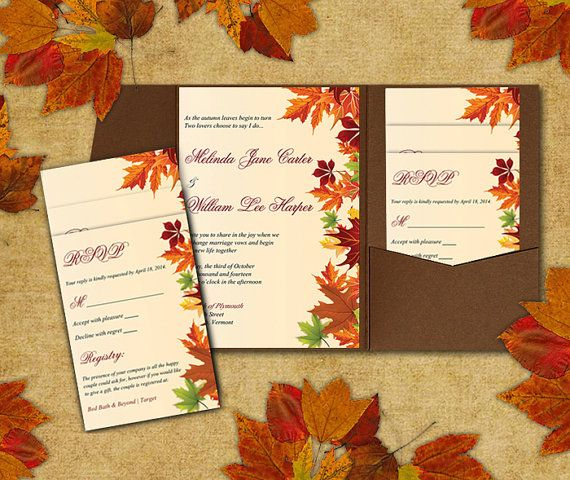 Diy Wedding Pocketfold Template Autumn Leaves Red Orange Green Cream Fall Invitation