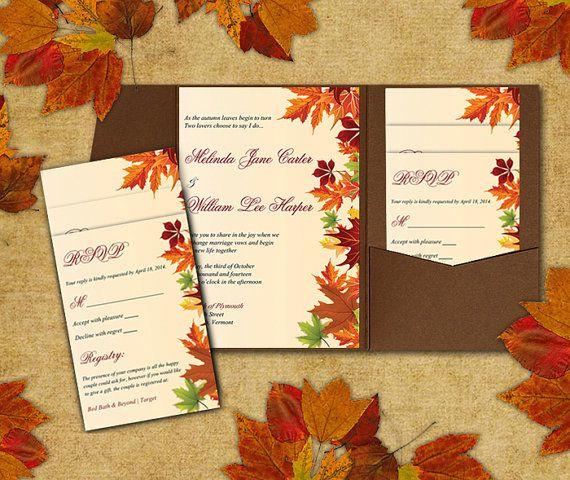 DIY Wedding Pocketfold Template Autumn Leaves Red Orange Green – Diy Fall Wedding Invitations