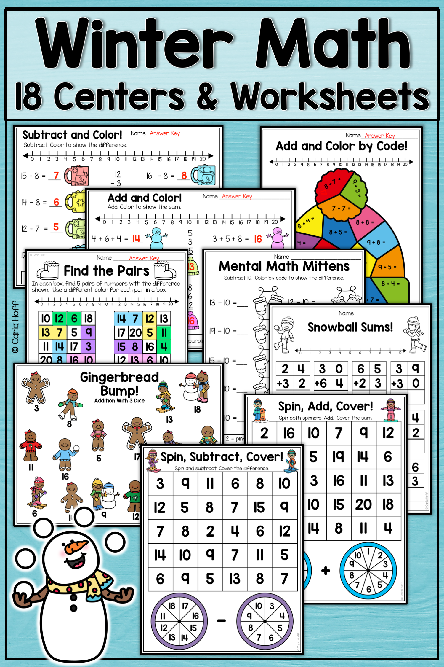 Winter Math Addition Amp Subtraction Centers And Worksheets