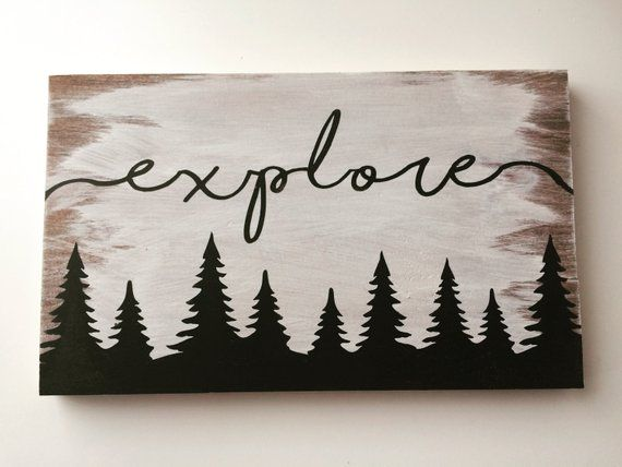 FREE SHIPPING Explore wood sign, hand painted wood sign, perfect for home decor or nursery decor, travel sign, nature sign