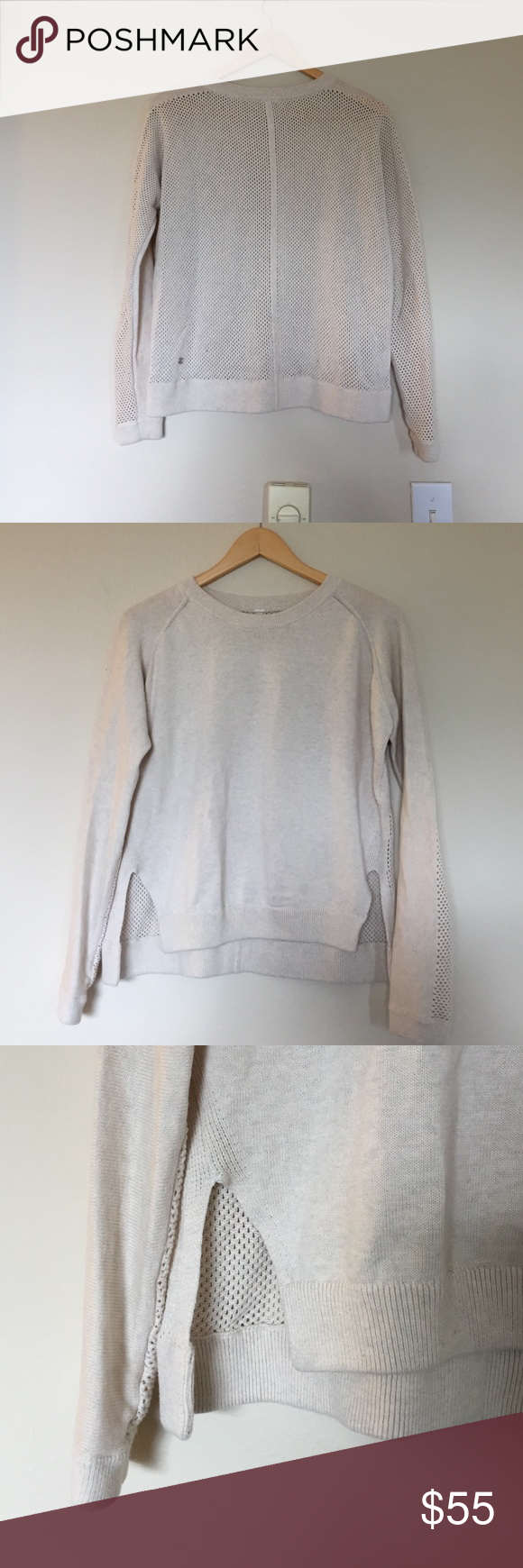 Lululemon Cream Open Back Sweater Lululemon cream crewneck sweater. Playful open knot look in back and along backside of arms. Slightly higher in front with 3 inch side slits on both sides. Size tag removed but I believe was a small (4-6). In excellent condition. lululemon athletica Sweaters Crew & Scoop Necks