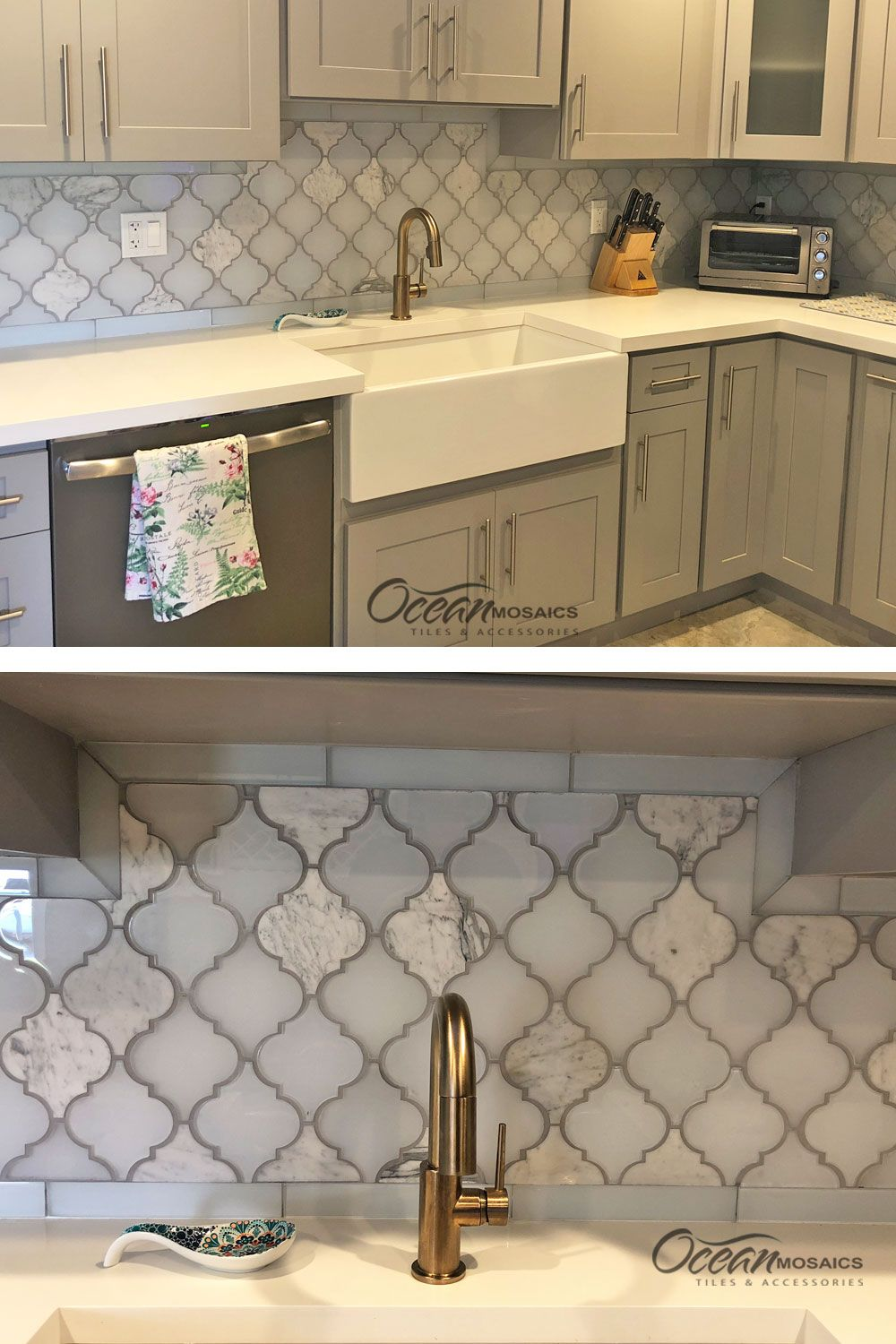 Adding A Darker Color Grout To Exquisite Arabesque Tile Makes For