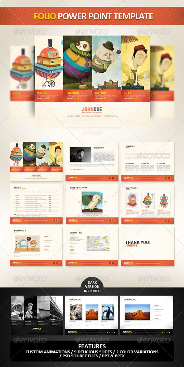 Folio PowerPoint Presentation Template Powerpoint presentation - professional power point template