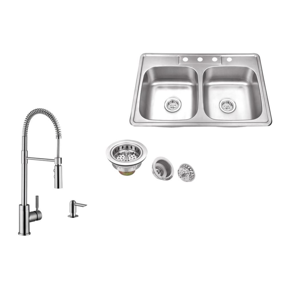 Ipt Sink Company Drop In 33 In 4 Hole Stainless Steel Kitchen