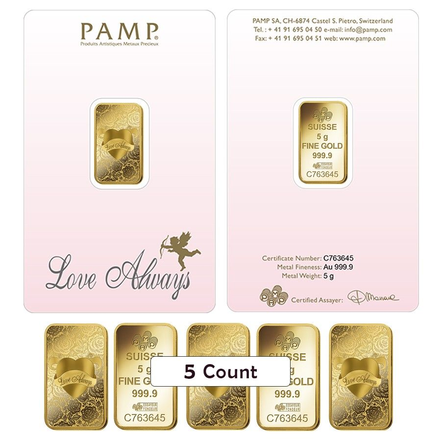 Lot Of 5 5 Gram Pamp Suisse Gold Bar Love Always In Assay 9999 Fine Gold Bar Love Always Gold