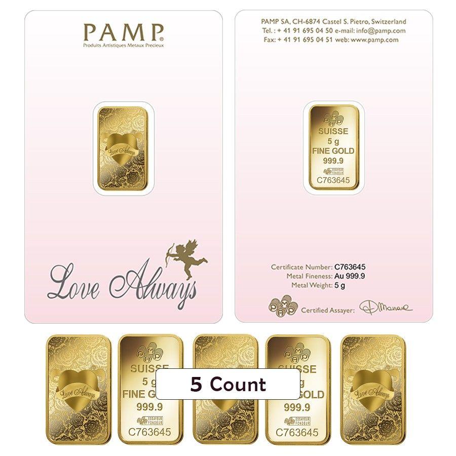 Lot Of 5 5 Gram Pamp Suisse Gold Bar Love Always In Assay 9999 Fine Gold Bar Love Always Gold