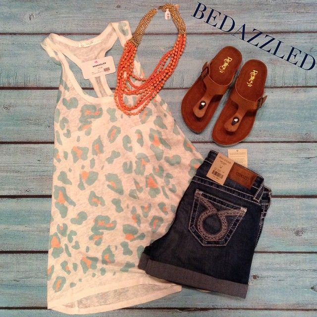 Stop in today and grab this cute new outfit! Leopard tank $16.99 small-large  Big star shorts $98.00 Sandals $18.99 Necklace $21.99 #bedazzledokc