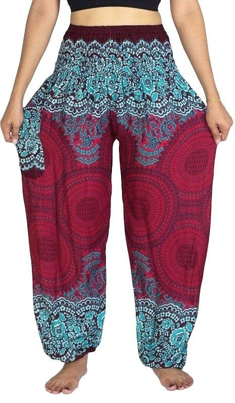 Burgundy Mandala Rose Pants – Asha Pants
