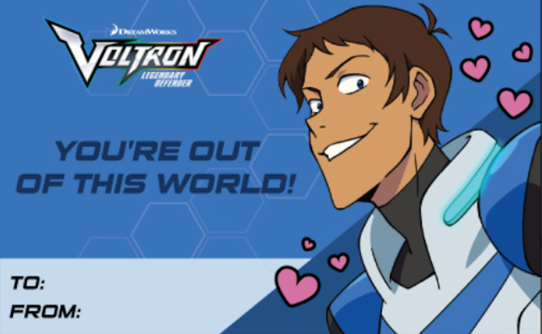 Lance S Valentine S Day Card From Voltron Legendary Defender