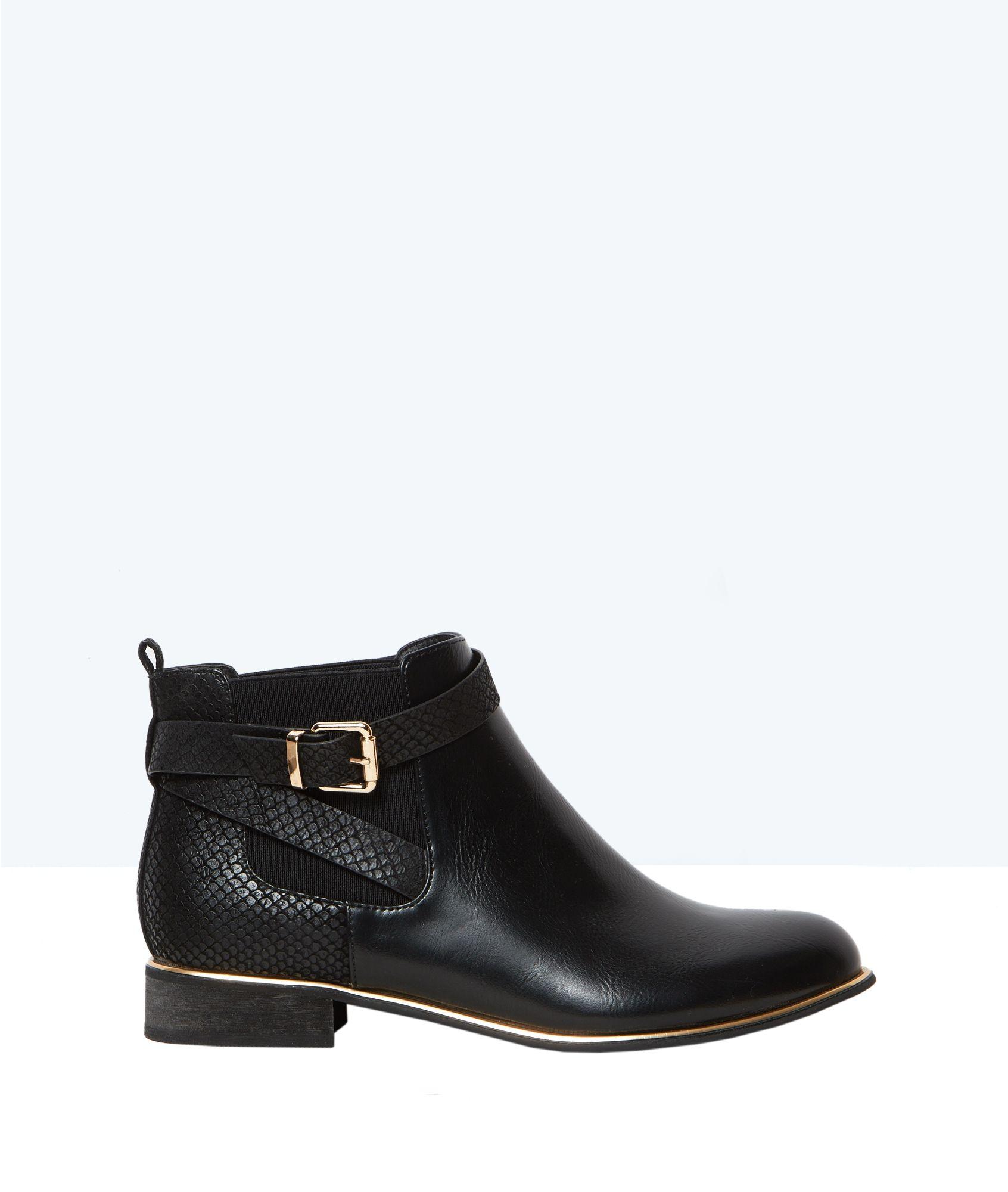 Bottines plates à boucles - Chaussures - Accessoires - Prêt-à-porter