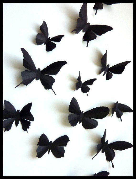 3d Wall Butterflies 30 Assorted Black Butterfly Silhouettes