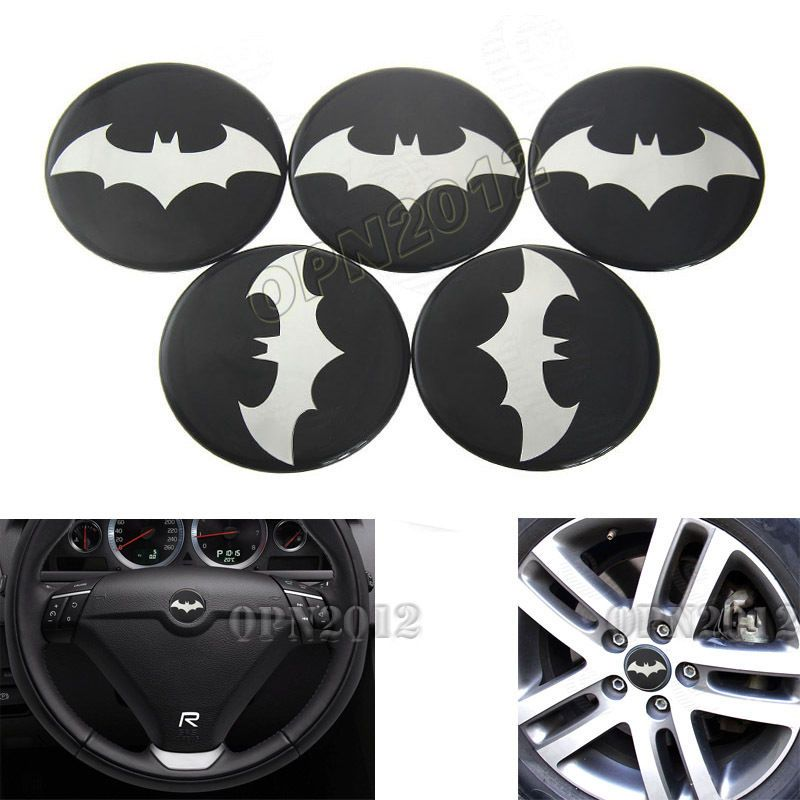 5x 65mm Dark Knight Batman Car Tyre Rim Center Hub Cap Steering Wheel Decal Hat… More