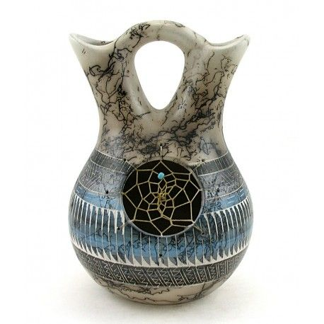Native American Horsehair Indian Pottery Wedding Vase By Jessica