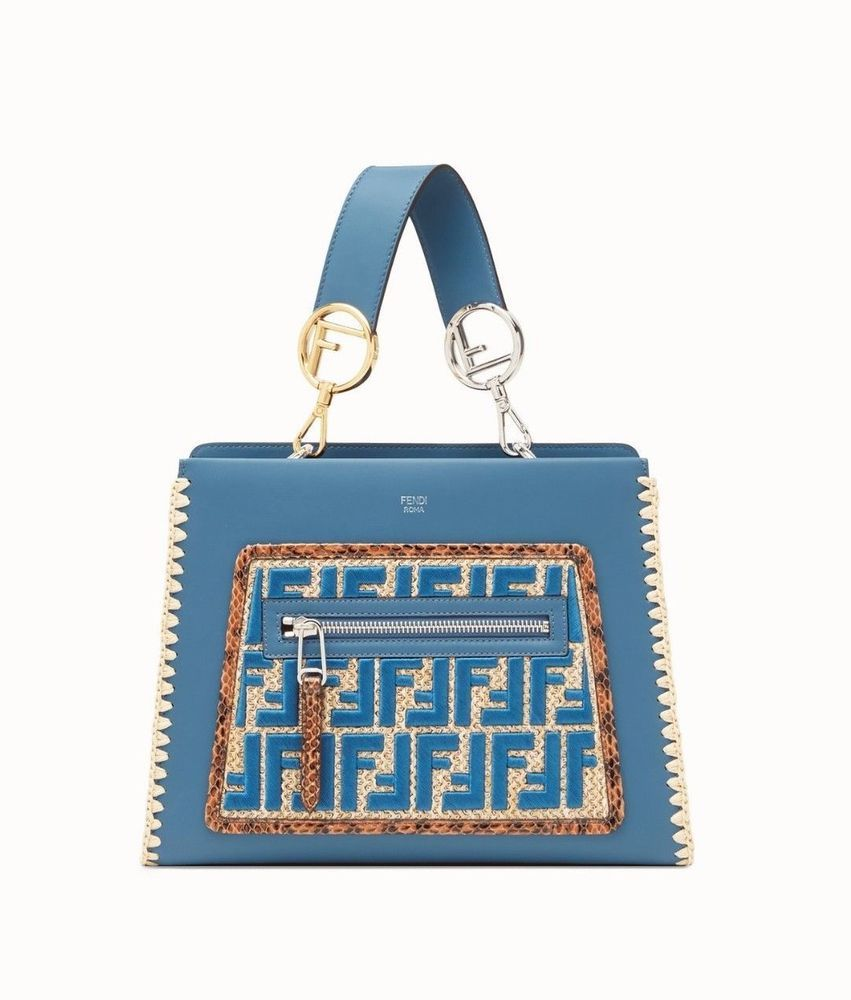93309b5ae8 FENDI RUNAWAY FF LOGO BLUE LEATHER BAG WITH EXOTIC DETAILS BAG  8BH344A2FUF12RR  FENDI  TOTEHANDBAGCrossbodyShoulderBag