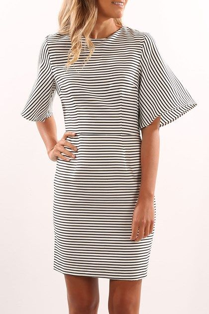 Another Time Dress White Stripe