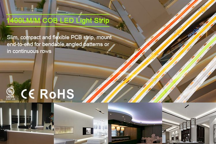 5m Per Roll 8mm 10mm 12v 24v White Red Green Blue Yellow No Dot Led Cob Strip In 2020 Led Light Strips Strip Lighting Rgb Led Strip Lights