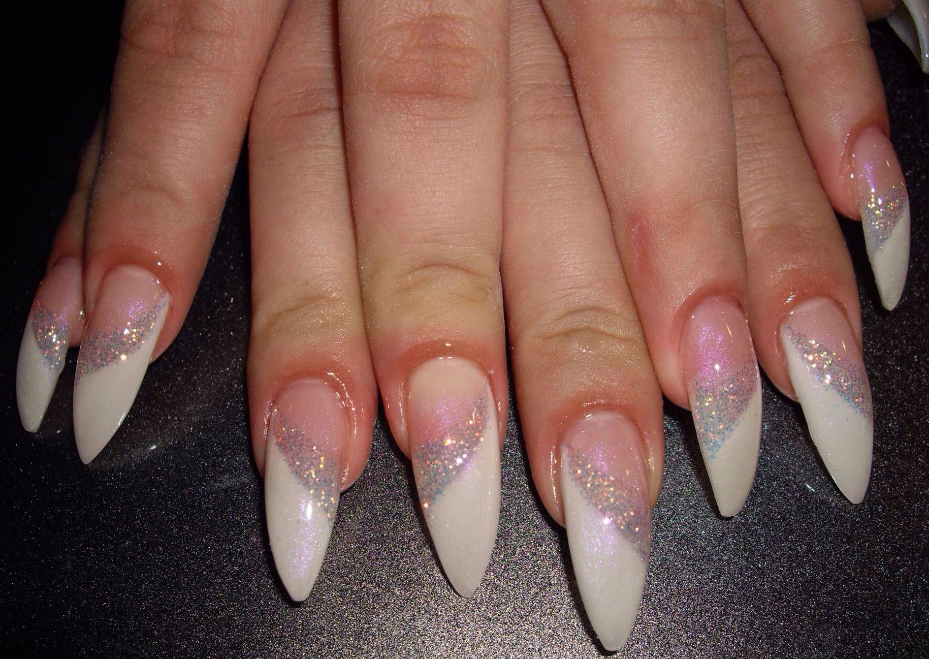 White French Stiletto Nails Pointy Glitter Gel Nail Art Design ...