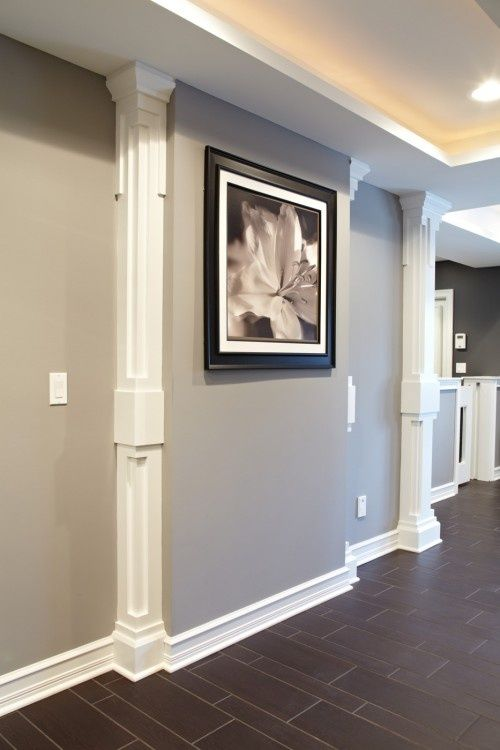 Basement wall idea. For basement wallwith odd bumpout due to utility ( heating) units. Great idea to addvertical molding to look like pillars. & Basement wall idea. For basement wallwith odd bumpout due to utility ...
