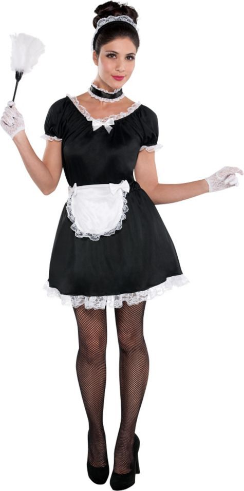 adult french maid costume features french maid dress with bow accent and comes with all the accessories this sexy french maid costume is a party city - All Halloween Costumes Party City