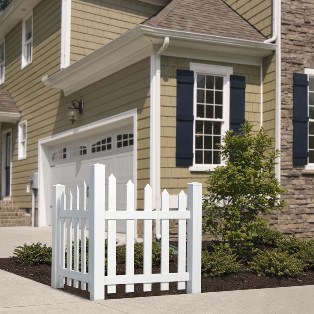 Outdoor Essentials 4 Ft H X 3 5 Ft W White Vinyl Scalloped Spaced Picket Corner Accent Fence Panel Kit 175844 The Home Depot House Paint Exterior Vinyl Fence Panels Outdoor Essentials