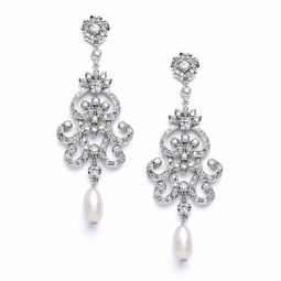 Vintage Chandelier Earrings with Cubic Zirconia & Freshwater Pearls$69