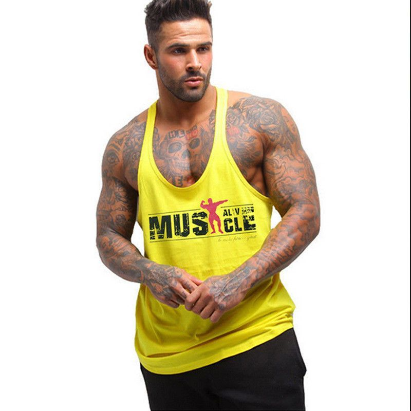 Precio: US $ 12.49 Hombres Gym Stringer Muscle Culturismo Casual Fitness Cotton Tank Top Chaleco Tee...