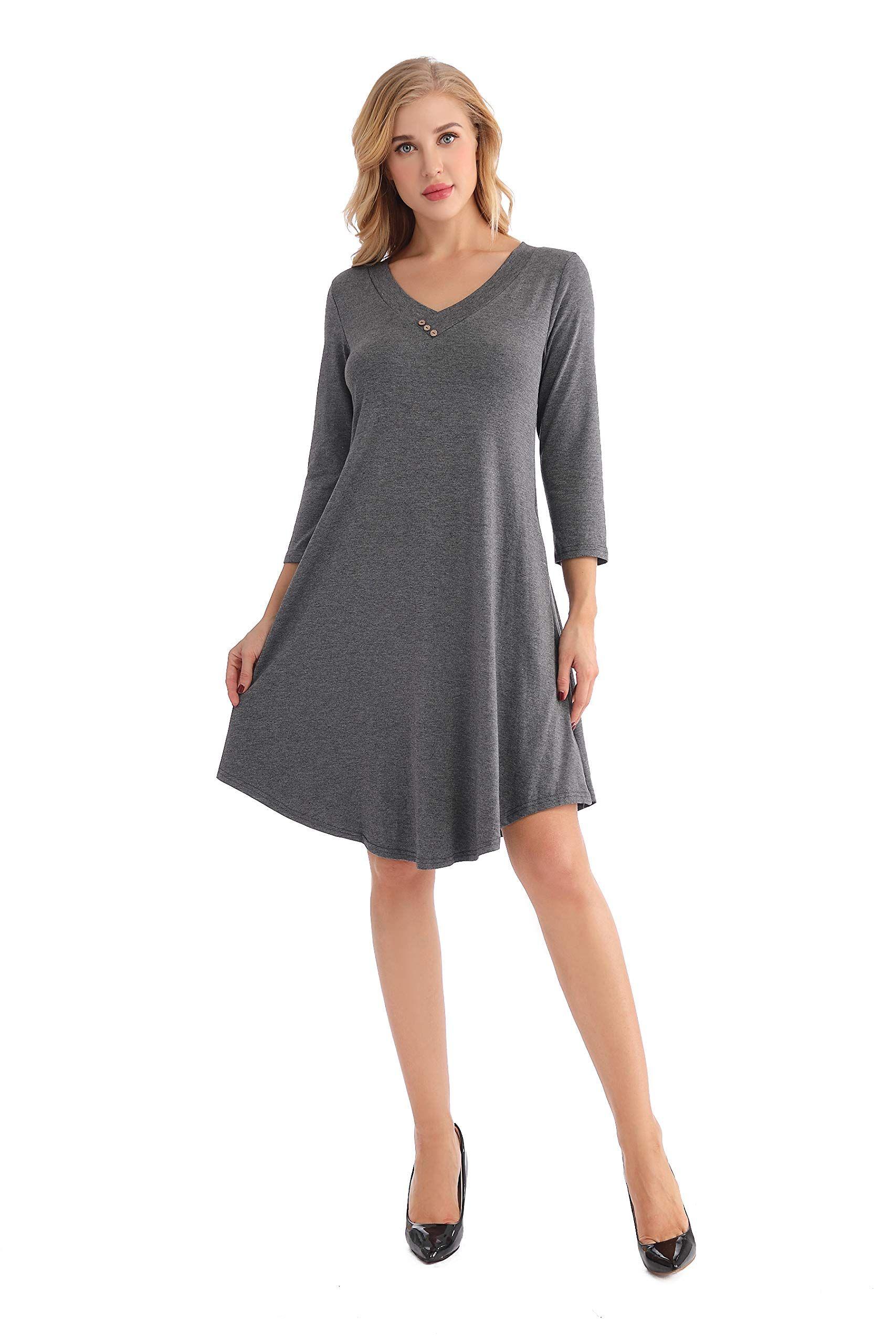 616aa04c44496e LEORAY Womens Loose T Shirt Dress Pockets V Neck 3/4 Sleeve Swing Dress Dark