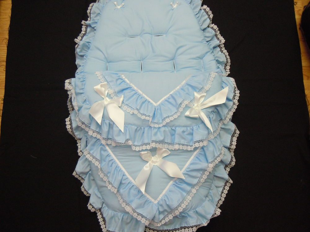 Personalised Carseat Cosytoes Footmuff available in blue or pink