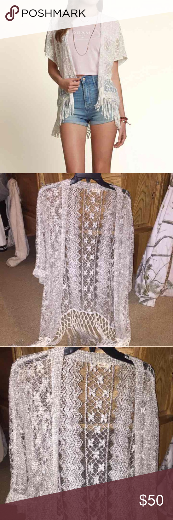 Hollister Gray/Silver Lace Fringe Cardigan Hollister Gray/Silver ...