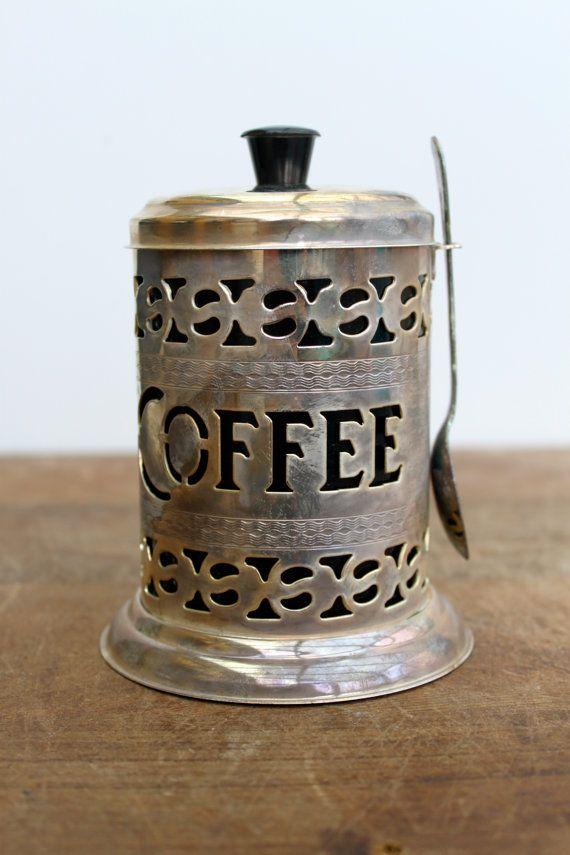 Vintage English Silver Plate Pierced Coffee Canister Coffee Coffee Canister Coffee Drinks