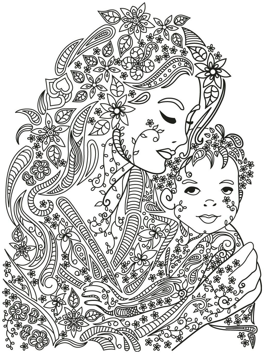 Mother And Child Coloring Page