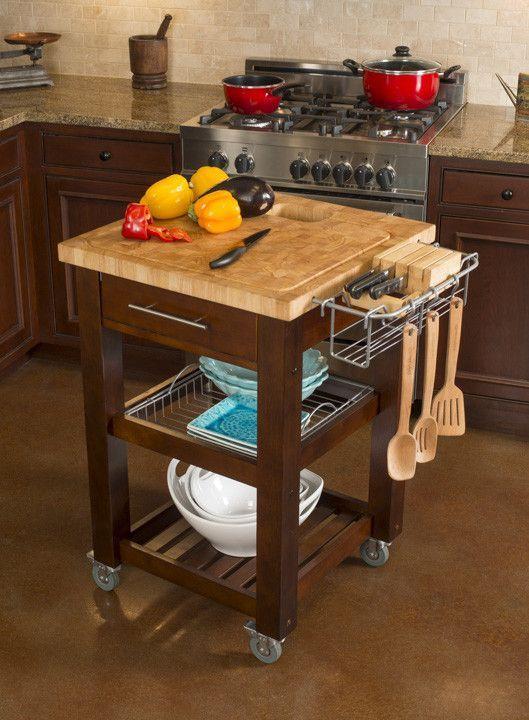 Chris U0026 Chris Pro Chef Kitchen Cart Work Station   Natural Or Espresso