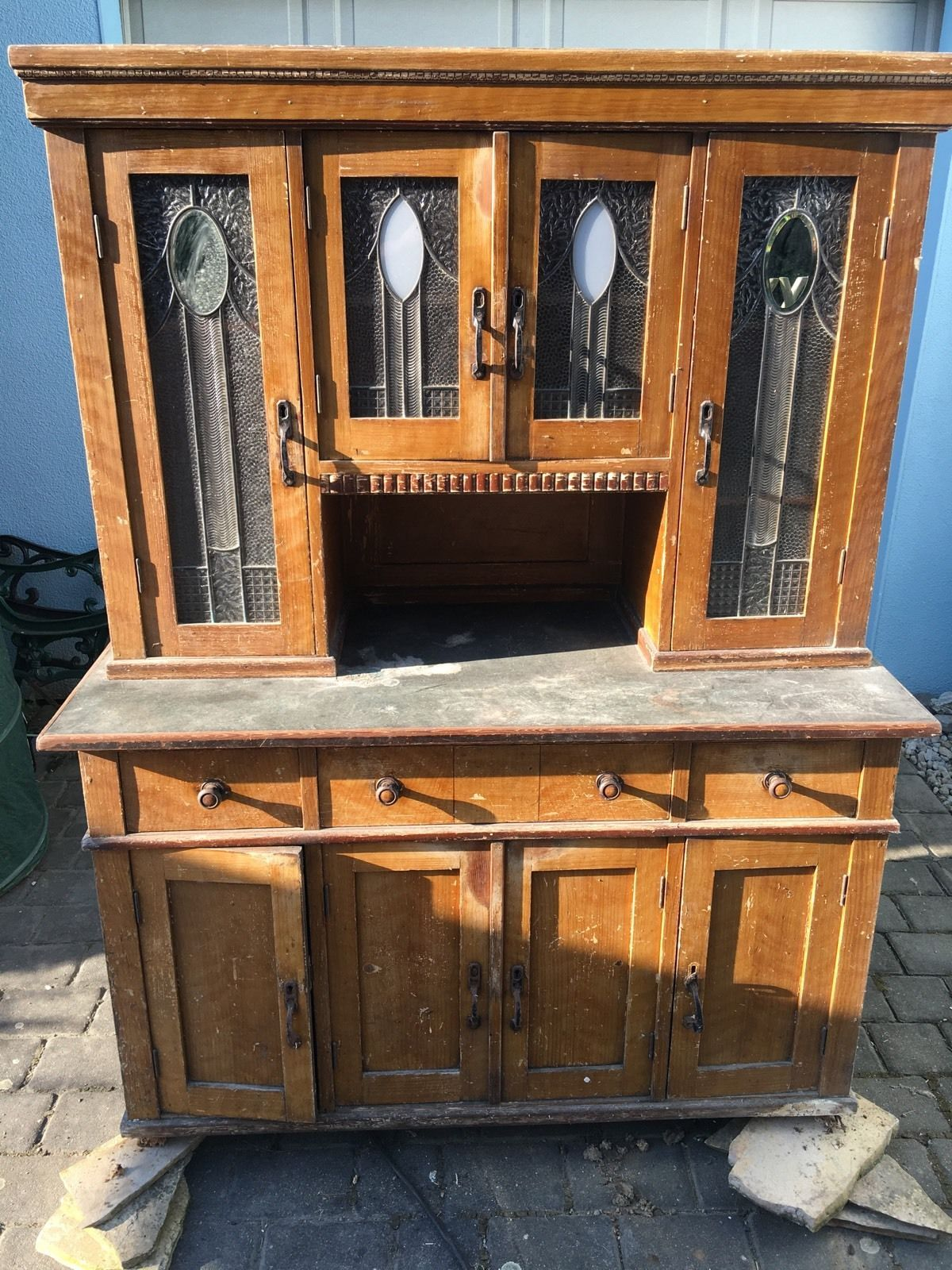 Unique Altes Antikes K chen Buffet Holz Bleiglas Anrichte Schrank