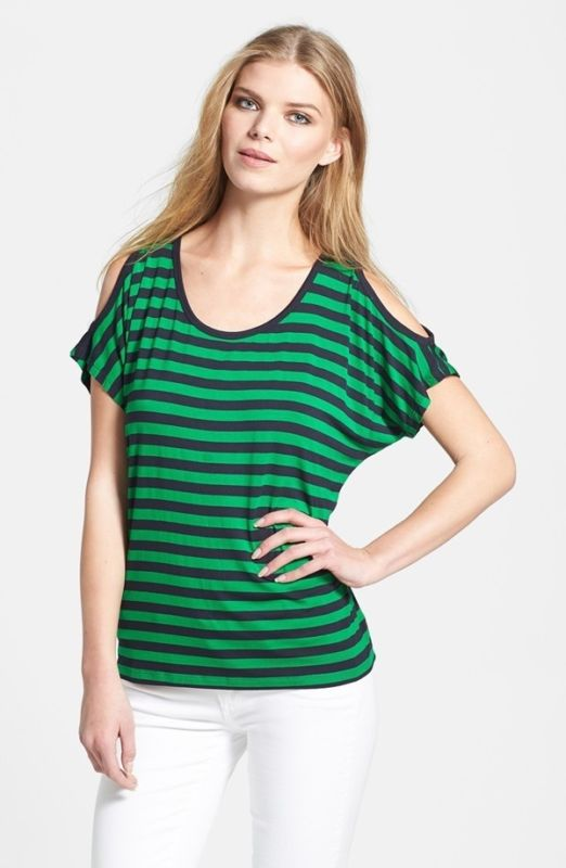 loving this cheerful green and blue striped 1x top from