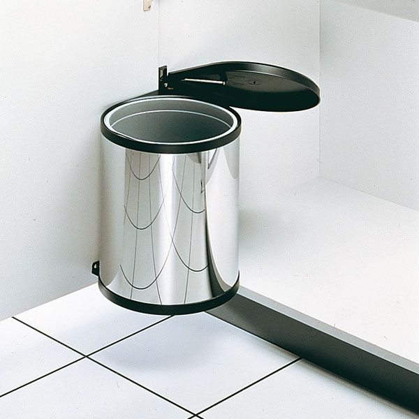 poubelle cuisine pivotante ronde 1 bac 12l inox organisation rangement. Black Bedroom Furniture Sets. Home Design Ideas