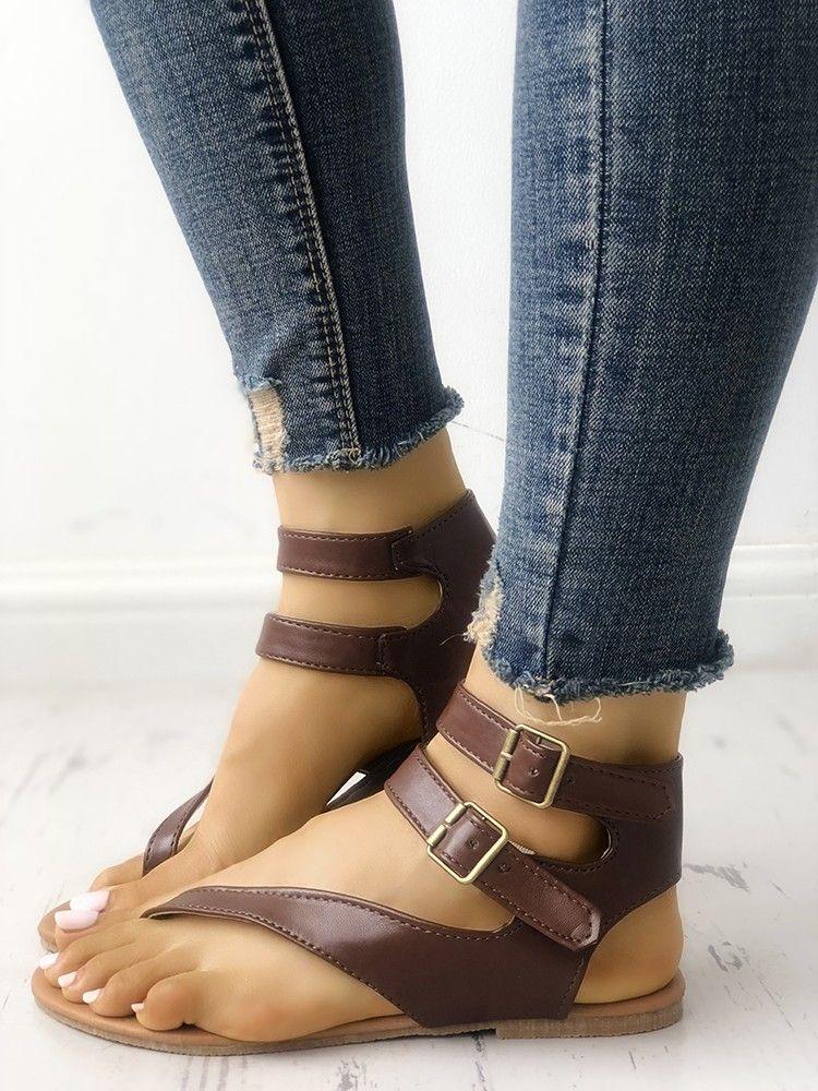 13944953b9 Shop Toe Post Buckle Flat Sandals right now, get great deals at  Joyshoetique.