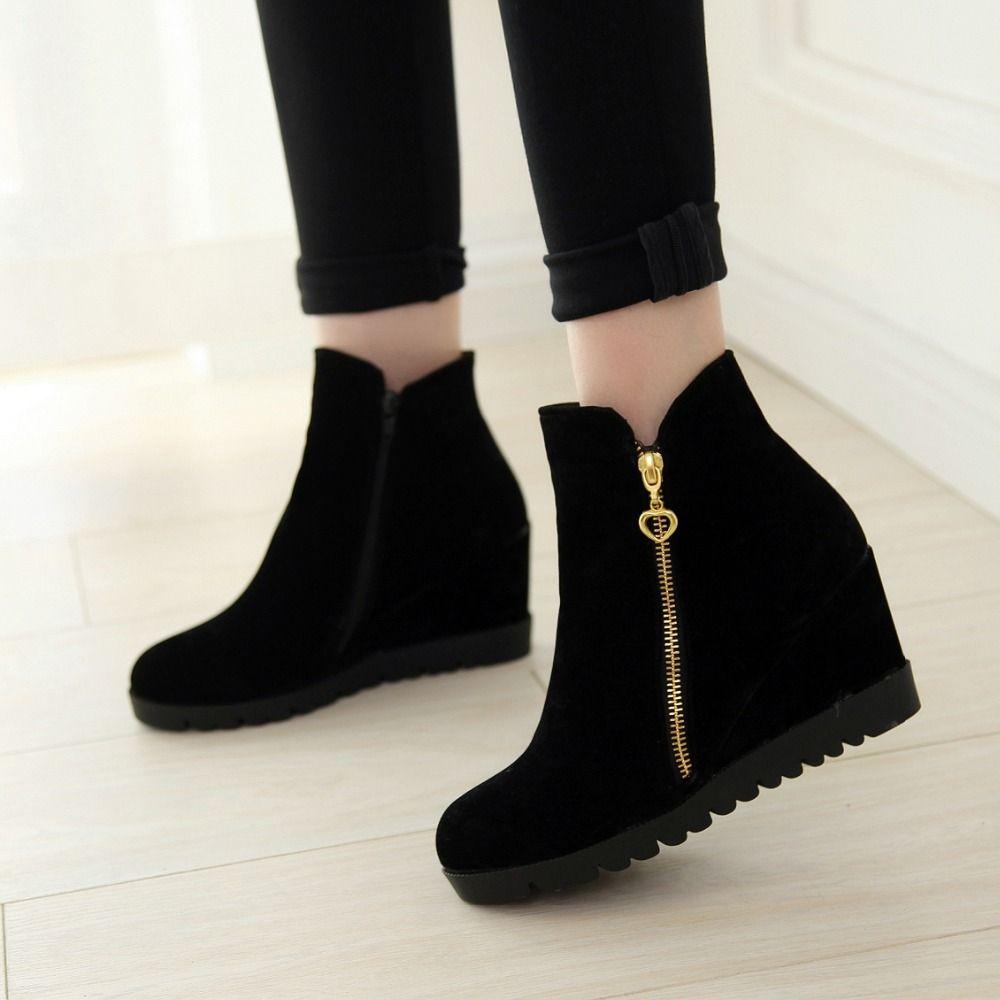 Women's Fashion Hidden Wedge Heel Zipper Short Boots