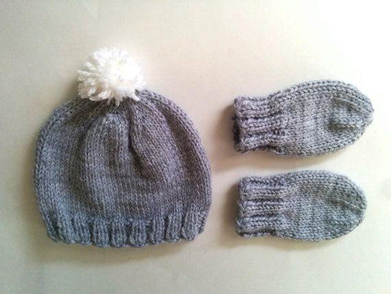 40925717179 Hand Knit Newborn 0-6 Months Pom Pom Baby Hat by heatherrainbow ...
