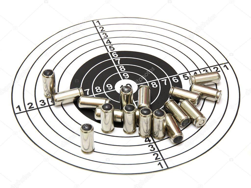 Cartridges Pistol Target Separately Isolated White Background  Stock Pho