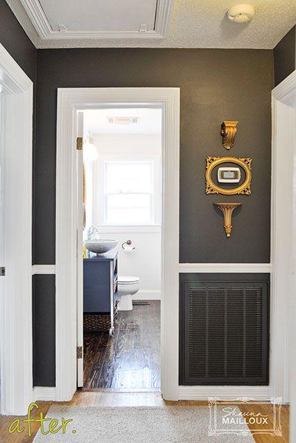 Dark Charcoal Gray Hallway Like The Paint White Trim Contrast Grey