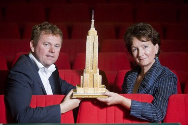 Roísín McDonough, Chief Executive, Arts Council of Northern Ireland (right) and George Heslin, Festival Organiser and Artistic Director, Origin Theatre Company announcing a new sponsorship agreement that opens the door for Northern Irish playwrights to New York City (2011)