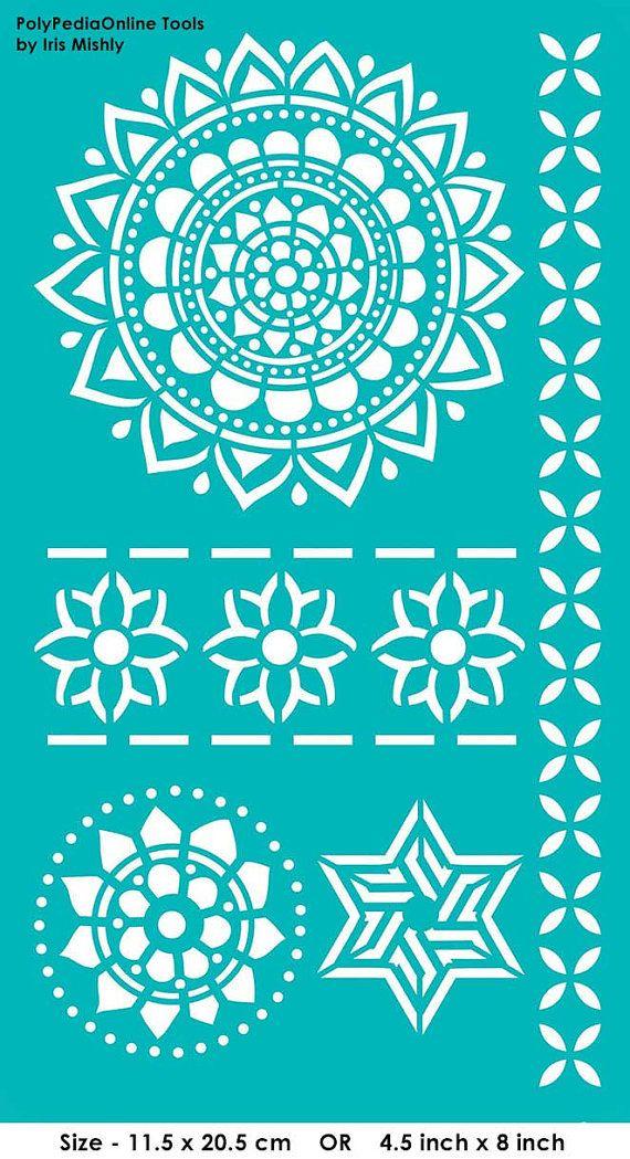 "Stencil Stencils Templates ""Mandala, Flowers, Star"", self-adhesive, flexible, for polymer clay, fabric, wood, glass, card making"