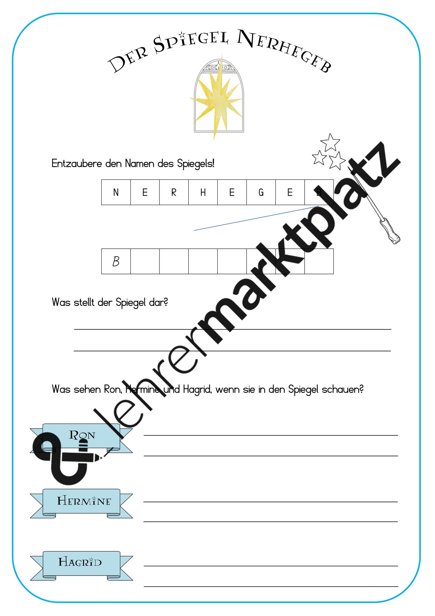 Der Spiegel Nerhegeb Harry Potter Stunde Unterrichtsmaterial Im Fach Deutsch Kinder Lesen Harry Potter Arbeitsblatter Deutsch