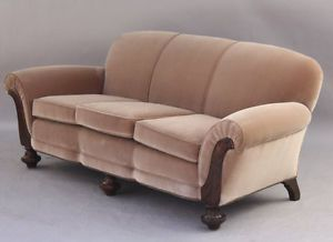 Carved Walnut Restored 1920 S Sofa With New European Velvet Deco 7053 Vintage Couch Antique Oak Furniture Vintage Sofa