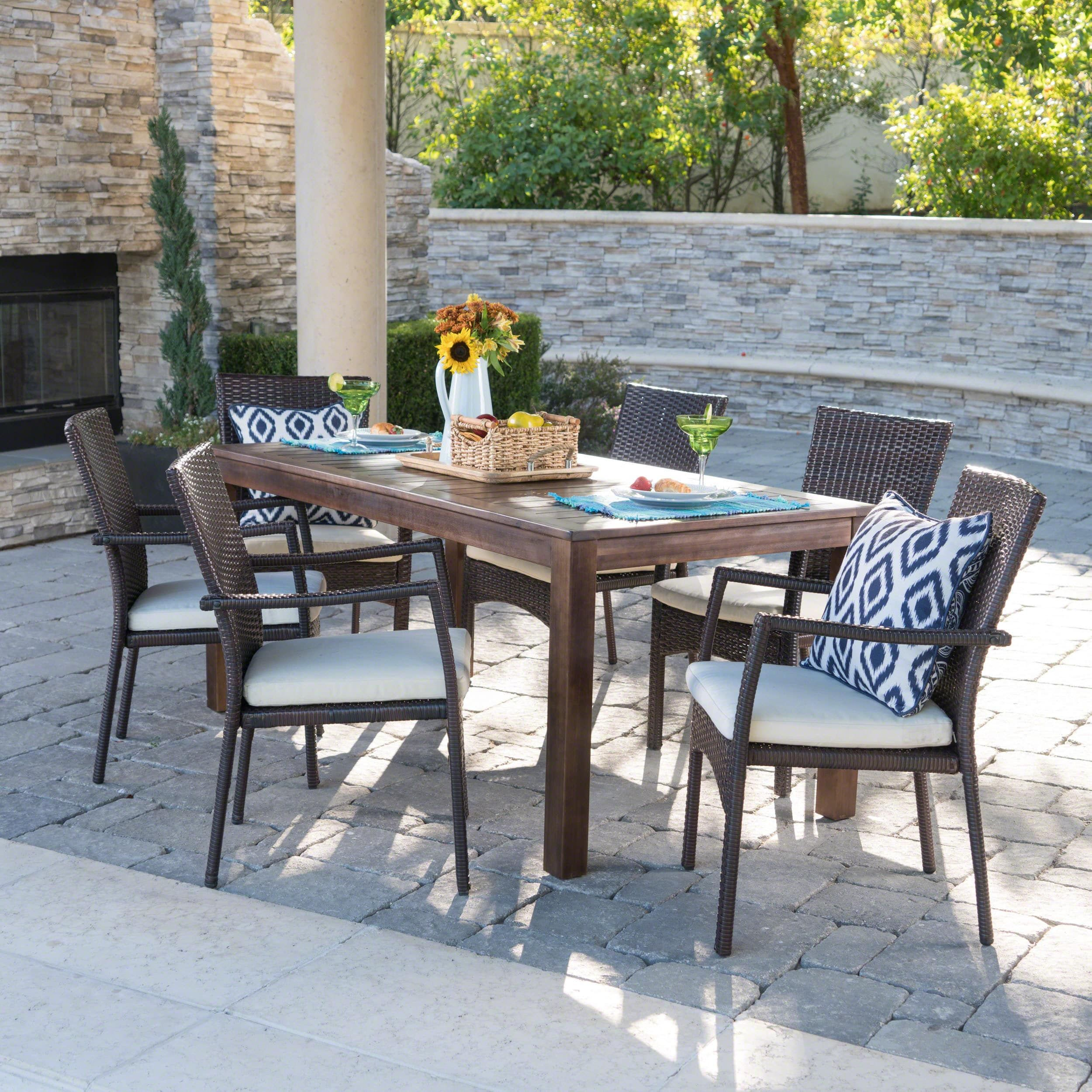 Geelong Outdoor 7 Piece Rectangle Aluminum Wicker Wood Dining Set With Cushions By Christopher Knight Home Dark Brown Brown Creme Outdoor Dining Set Wicker Dining Chairs Outdoor Dining