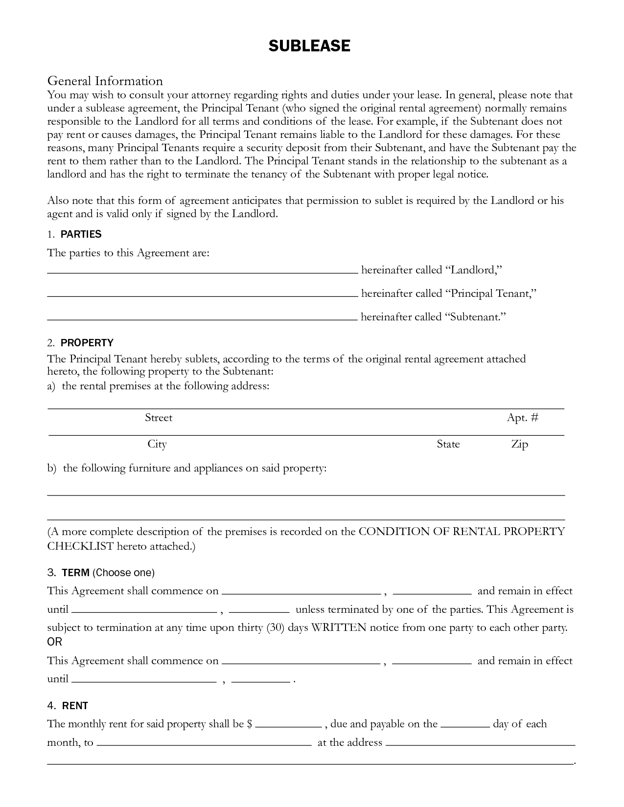 Sublet Rental Agreement SUBLEASE General Information by ayj58676 – Sublet Contract Template