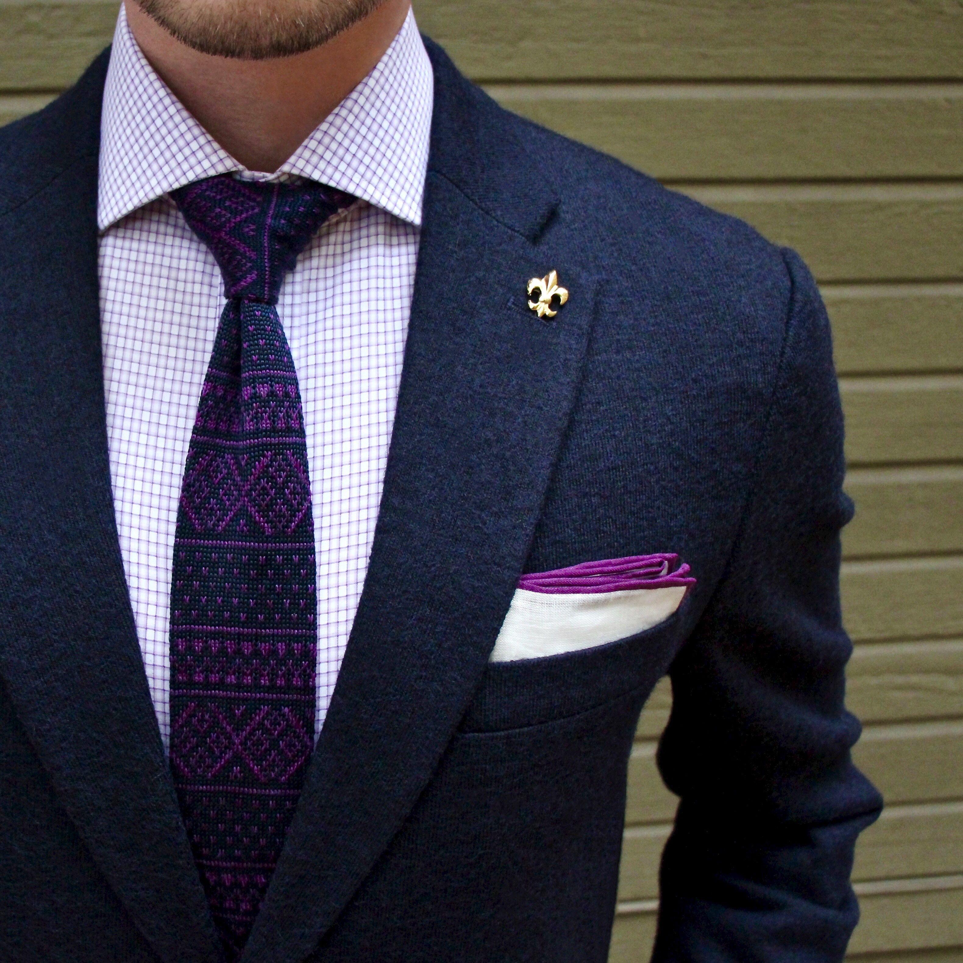 f07dad82 Fall dapper combo with purple fair isle knit tie purple striped shirt navy  blazer copper lapel pin purple lined white linen pocket square.