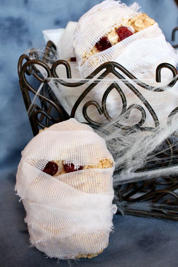 Mummy Heads Rice Krispie Treats (halloween rice krispy ...