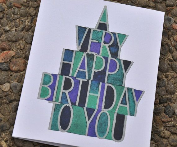 Male Birthday card {Watercolor Typography } - Set of 5