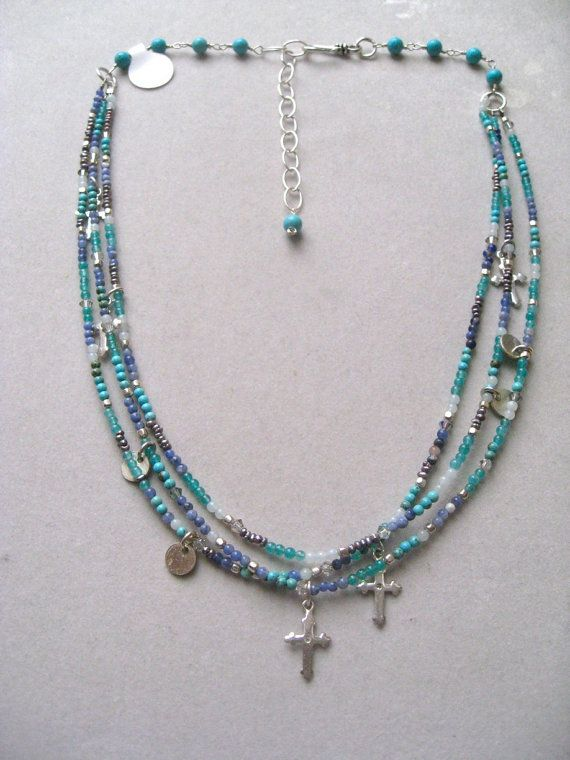 Mixed Gemstone Blue Necklace Charm Necklace by Sylviajewelry, $146.00